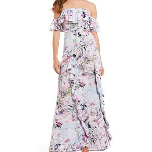 Willow Clay Off Shoulder Floral Maxi Dress